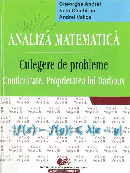 Analiza matematica, Culegere de probleme, Continuitate si functia lui Darboux